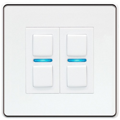 Lightwave – Smart Dimmer (2 Gang) White Metal