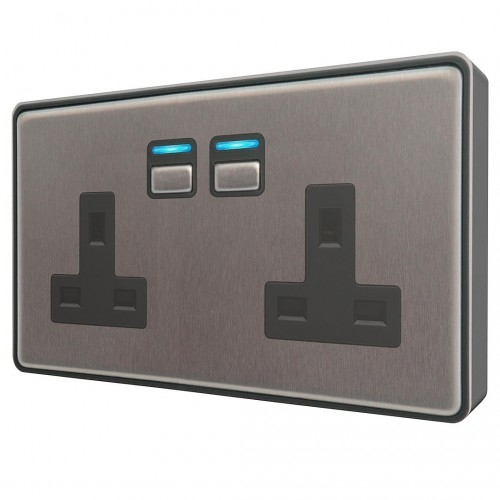 Lightwave – Smart Socket (2 Gang) Stainless Steel
