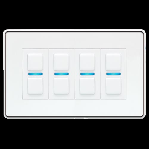 Lightwave – Smart Dimmer (4 Gang) White Metal