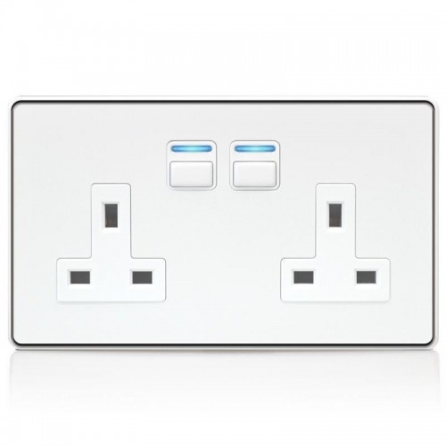 Lightwave – Smart Socket (2 Gang) White Metal